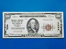 1929 $100 Commercial Merchants National Bank & Trust Peoria Illinois CH# 3296