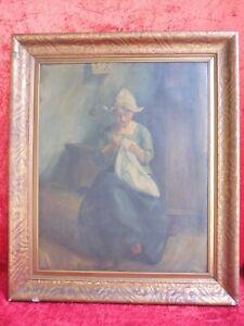 Old, Large Painting, Dutch Girl, Artist Painting (Theodor Bruckner)