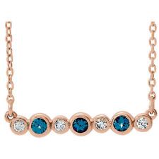 Chatham® Created Alexandrite & .08 CT Diamond Bezel Set Bar Necklace In 14K Gold