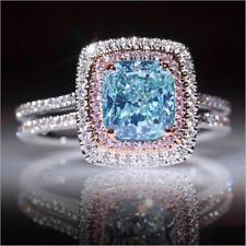 Luxury Princess Cut Aquamarine&Pink Topaz Wedding Ring White Gold Womens Jewelry