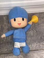 "WORKS 10"" Bandai Pocoyo Plush Stuffed Toy Doll Sound Talking Blue Figure Horn"