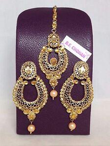 Gold pearl earrings tikka set bollywood pakistani style mehndi party prom hijab