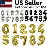 "32"" Large Number Foil Balloon Digit Balloons Birthday Anniversary Decor Party US"
