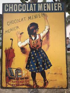 Superbe Grande Plaque Publicitaire en Métal  Chocolat  MENIER Déco Cuisine