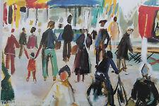art breton bigouden marché couleurs repro peinture poster moderne affiche