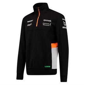 Sahara FORCE INDIA F1 Team 1/4 Zip Sweatshirt Jumper Top Fleece Black MENS