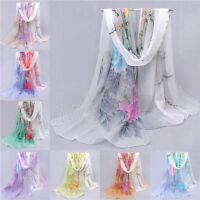 HOT Fashion Women Lady Chiffon Floral Long Soft Wrap Shawl Scarf Scarves PW047