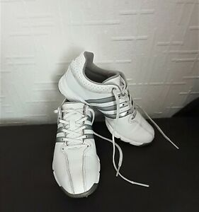 WHITE * ADIDAS ~ 360 TRAXION * GOLF TRAINER SHOES (SOFT SPIKED SOLE) UK Sz 3