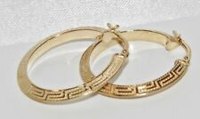 9CT YELLOW GOLD & SILVER GREEK KEY LADIES CREOLE HOOP EARRINGS ~