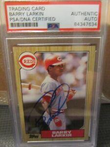 Barry Larkin 1987 Topps Rookie Card Autographed PSA/DNA Cincinnati Reds.