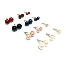 S925 Sterling Silver Cultured Freshwater Pearl Gemstone Garnet Stud Earrings