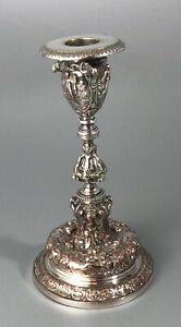 Victorian Silver Plated Candlestick By Elkington 1881 17cm AZX