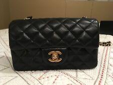 Authentic Chanel Rectangular Flap Bag Crossbody Black Caviar Gold Hardware