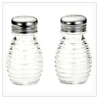 Beehive Retro-Vintage Clear Glass Salt and Pepper Shakers Stainless Steel Tops