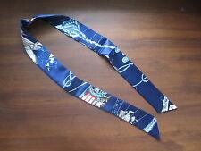 Blue Silk Twilly~Silk Handbag Tie~Silk Scarf~100% Silk Tie~Belt~Head Wrap~105cm