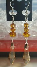 Drop Dangle Earrings + Gift Bag Silver Plated and Glass Amber Coloured Teardrop