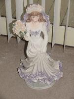 "Lady Figurine Bride Wedding Bouquet 21"" Delicate White Purple Pink EST 1341 Nice"