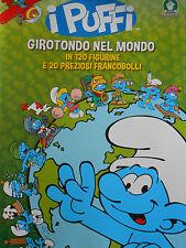 ALBUM  VUOTO I PUFFI GIROTONDO NEL MONDO VUOTO + 2 PACCHETTI DI FIGURINE