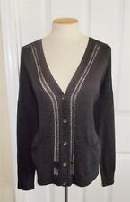 MICHAEL MICHAEL KORS SZ LARGE CHARCOAL GRAY V-NECK BUTTON FRONT CARDIGAN SWEATER