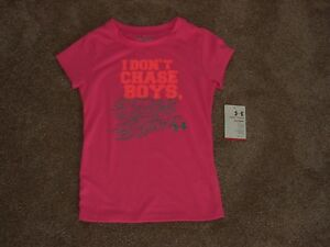 NWT Girls Sz 5 Under Armour S/S Poly T Shirt Top 'I Dont Chase Boys, I Pass Them
