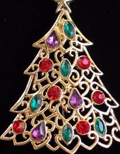 NIB LIZ CLAIBORNE GOLD MULTI COLOR RHINESTONE CHRISTMAS TREE PIN BROOCH JEWELRY