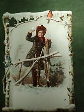 Victorian Trade Card Christmas F W Wenners Merchant Tailor Boston Lg 6 x 4""