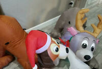 CHRISTMAS 5 FT 2 PUPPIES DOG WITH BONE  AIRBLOWN INFLATABLE YARD GEMMY