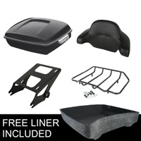 Black Chopped Trunk Backrest & Rack Fit For Harley Tour Pak Street Glide 14-20