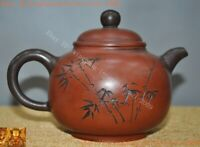Marked Old Chinese Yixing Zisha pottery Hand-carved bamboo Teapot pot Tea Maker