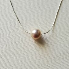 Floating Freshwater Pearl  Necklace Sterling Silver Dainty Chain Pink Pearl