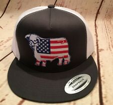 Lazy J Grey and White American Flag Hereford Patch Cap Rodeo Trucker Mesh