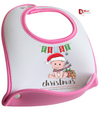 PERSONALISED FIRST CHRISTMAS BIB GIRL BIB- Cute Design - Any Name & Message