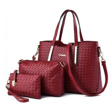 Womens 3Pcs Knitted Leather Shopper Clutch Hobo Shoulder Bag Tote Handbag