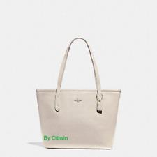 New COACH F22967 Leather Mini City Zip Tote Handbag Shoulder Bag Purse Chalk