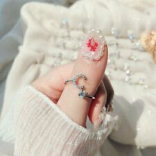 Letter C Crystal Silver Open Knuckle Ring Adjustable Lady Jewelry Wedding Gifts