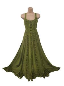 Maxi Boho Summer Dress Corset Peasant Embroidered Green 10 12 14 16 18 20 22 24