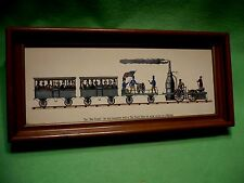 Antique colored print of ' The Best Friend ' the United States first locomotive