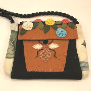 Handmade Wool Felt Purse Handbag Honey Bee Colorful Flowers Easter Spring Girls