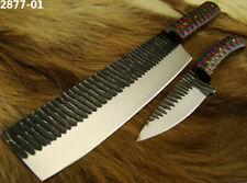 2 Stücke Damastmesser Küchenmesser Carbonstahl Kochmesser Kitchen Knife (2877-1