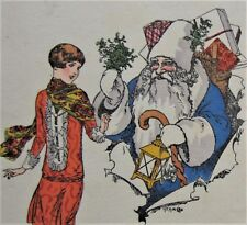 A/S Herouard SANTA CLAUS in Blue Flirts with Pretty Flapper GIRL Postcard