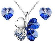 WHITE GOLD PLATED ROYAL BLUE AUSTRIAN CRYSTAL HEARTFOUR LEAF CLOVER NECKLACE SET