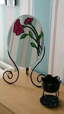 Freestanding Oval Dressing Table Mirror DIY Stained Glass Painting 25CM * 37CM