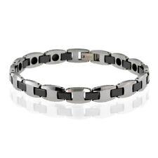 "8mm Tungsten Black Ceramic Men's Bracelet 8"""
