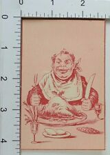 Victorian Christmas Trade Card Fat Man Dinner Carving Knife Fork Holly F68