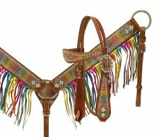 BLING! WESTERN SADDLE HORSE LEATHER RAINBOW BRIDLE & FRINGE BREAST PLATE COLLAR