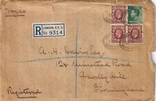 New listing Xx2343 Hatton Garden Reg 1938 cover 5d rate 4 stamps Kgv Eviii stamps, wax seal