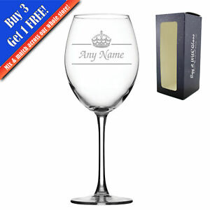 Personalised Engraved Novelty 19oz Enoteca Wine glass, Name and crown