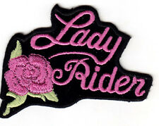 """LADY RIDER"" w/PINK ROSE - IRON ON EMBROIDERED PATCH - BIKER - VEST - BIKE BABE"
