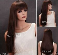 100% Real hair! New Dark brown Long straight hair Human Hair Wig