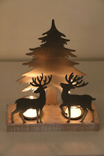 Gorgeous Metal  Double Reindeer  And Tree Tea-Light Holder On Wooden Base